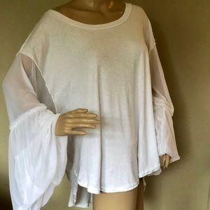 Free people white tile puff sleeves cotton L